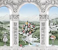 Эскиз росписи с пейзажем