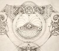 Эскиз росписи потолка в карандаше