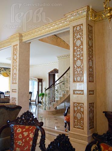Орнаменальная роспись колон | Студия Гервь | Киев