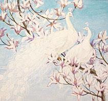 Эскиз росписи   Павлины белые магнолии