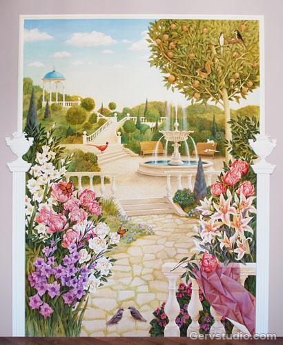 Роспись стен пейзаж, парк   Студия росписи Гервь   Киев